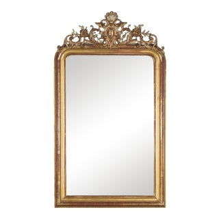 Antique French Louis Philippe Gold Leaf Mirror circa 1880 (37″ w x 64″ h)