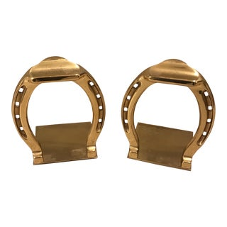 Mid-Century Brass Horseshoe Bookends - a Pair