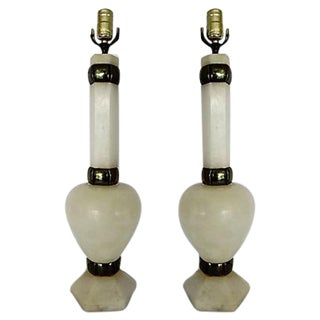 Alabaster & Brass Lamps -A Pair