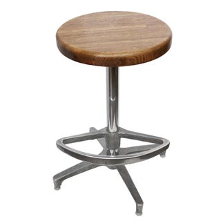 Wooden Stool W/ Footrest