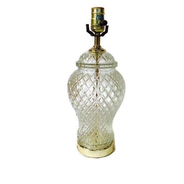 Vintage Chinoiserie Cut Glass Ginger Jar Lamp - Image 1 of 6