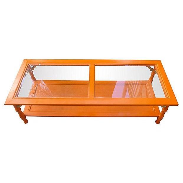 Orange 1960s bamboo style coffee table chairish for Orange coffee table