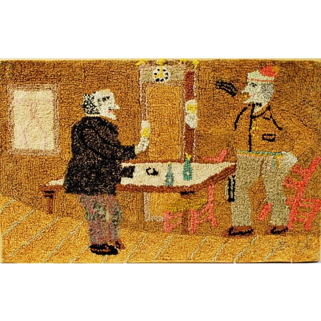 Late 19th Century Figural Hooked Rug - Image 1 of 3