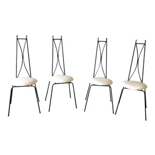 Salterini Style Wrought Iron Cafe Chairs - Set of 4