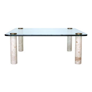 Square Glass and Travertine Cocktail Table by the Pace Collection