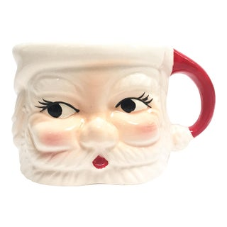 Vintage red and white Santa mug