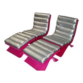 Drexel Mid-Century Silver & Pink Lounge Chairs With Ottomans - Set of 4