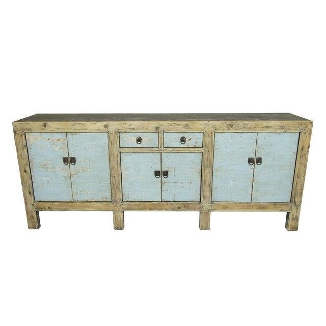 Image of Blue Distressed Sideboard