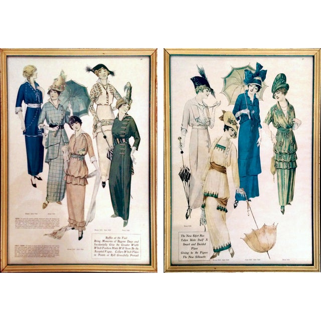 Framed Antique Fashion Advertisements- A Pair - Image 1 of 8