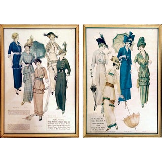 Framed Antique Fashion Advertisements- A Pair