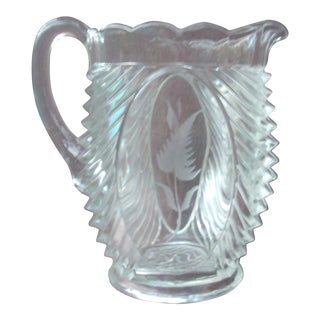 Floral Pressed Glass Pitcher