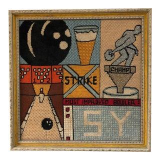"Vintage ""Most Improved Bowler"" Embroidery Artwork"