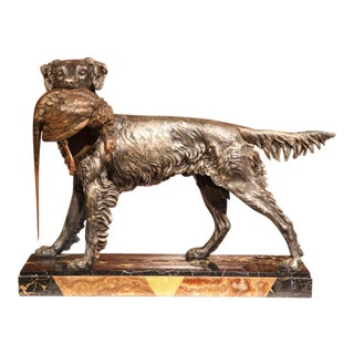 19th Century French Spelter Hunting Dog Sculpture