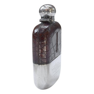 Bridge of Allan Fishing Club Sterling Silver and Alligator Hip Flask