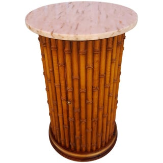 Faux Bamboo Marble Topped Cylindrical End Table