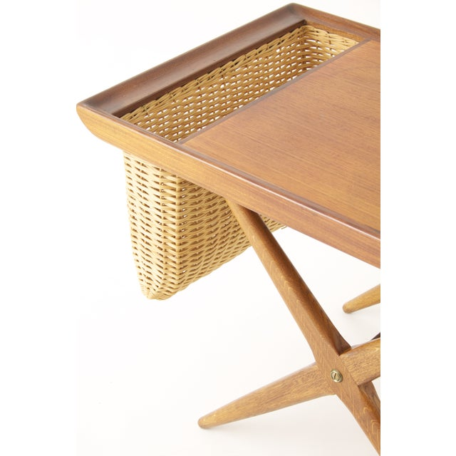 Teak Walnut MCM Side Table Woven Magazine Basket - Image 6 of 11