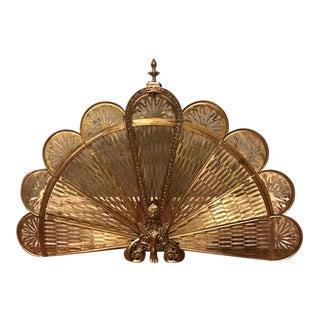 "Vintage Brass Peacock ""Phoenix"" Fireplace Screen"