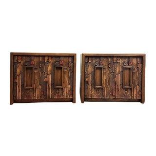 Mid Century Modern Brutalist Pueblo Pair End Tables / Nightstands
