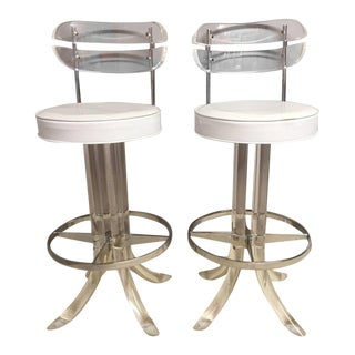 Lucite, Chrome and Patent Leather Bar Stools - A Pair