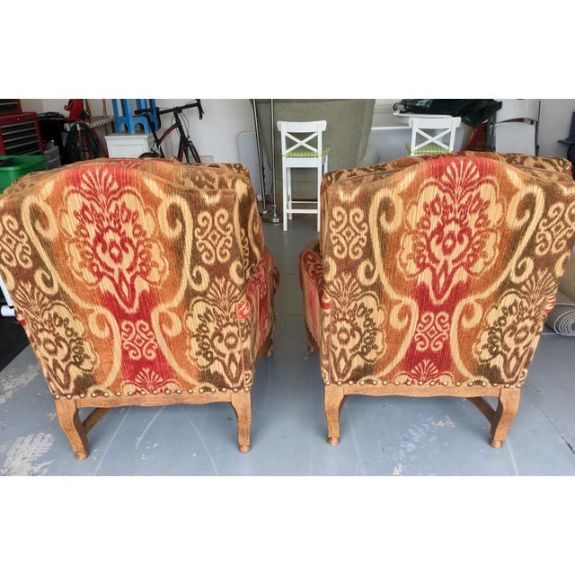 Knuckle Bergere Chairs W/Large Nail Heads - A Pair - Image 3 of 4
