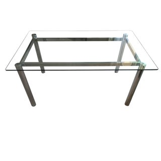 Vintage Baughman Style Chrome Tubular Dining Table