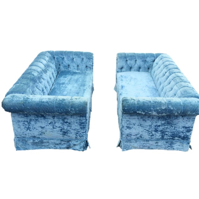 Vintage Blue Velvet Chesterfield Sofas A Pair Chairish