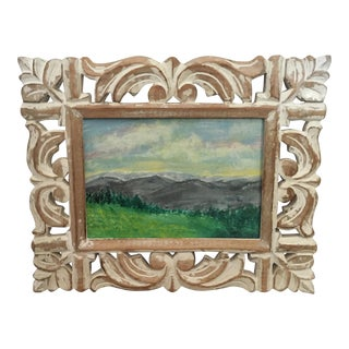 Original Framed Scenic Landscape Acrylic Painting in Wooden Whitewash Ornate Frame