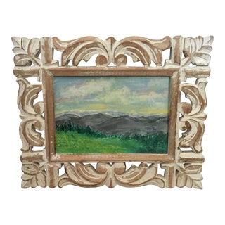 Original Framed Scenic Landscape Acrylic Painting in Wooden Whitewash Ornate Frame