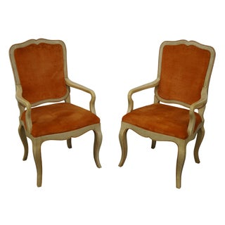 Painted Frame French Country Style Chairs - Pair