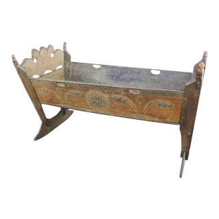 Important & Rare Pennsylvania 18thc Paint Decorated Cradle
