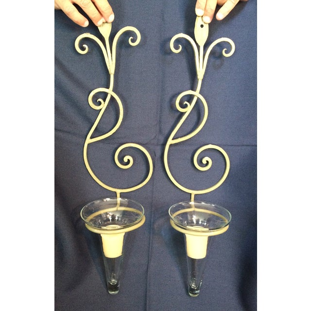 Wrought Iron Wall Candle Sconces - A Pair - Image 3 of 6