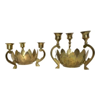 Vintage Brass Lotus Candle Holder - A Pair