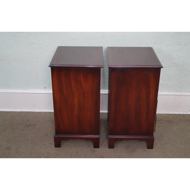 Image of 1940s Chippendale Mahogany Nightstands - Pair