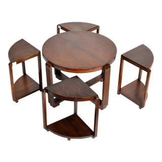 Art Deco Round Coffee Table with Four Nesting Tables
