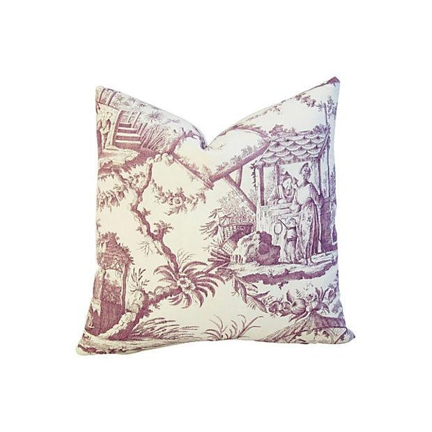 Custom Lavender English Chinoiserie Accent Pillow - Image 1 of 3