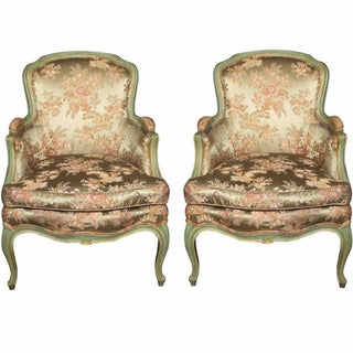 Louis XV Style Silk Bergère Chairs - A Pair
