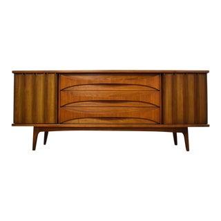 Mid-Century Modern Walnut Sculpted Dresser Credenza