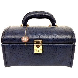Vintage Ostrich Leather Jewelry Travel Case