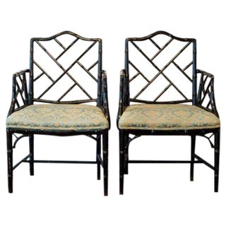 Faux Bamboo Chinese Chippendale Armchairs - 2