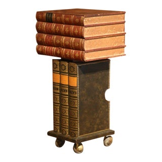 Mid-20th Century French Stacked Book End Table on Wheels