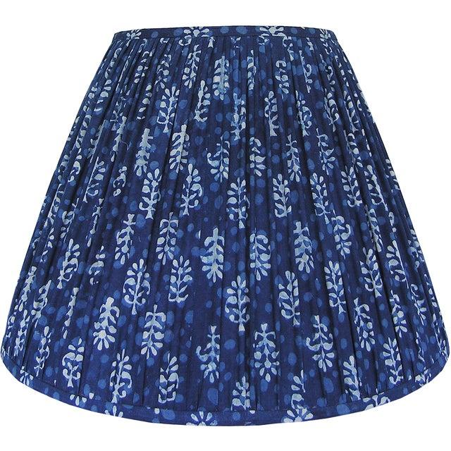 New, Made to Order, Indigo Blue Block Print Fabric, Medium Pleated/Gathered Lamp Shade Shade - Image 2 of 5