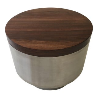 Solid Cocobolo & Stainless Steel Side Table