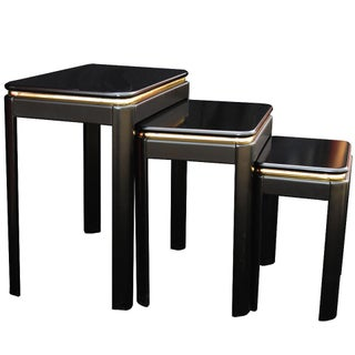 Black Lacquer Nesting Tables - Set of 3