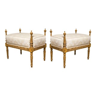French Louis XVI Style Painted Benches - A Pair