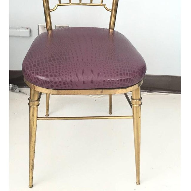 Brass & Aubergine Crocodile Leather Seat Chairs - A Pair - Image 6 of 6