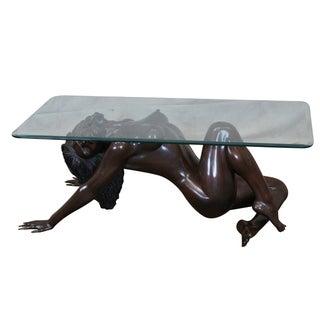 Bronze Nude Base & Glass Top Coffee Table