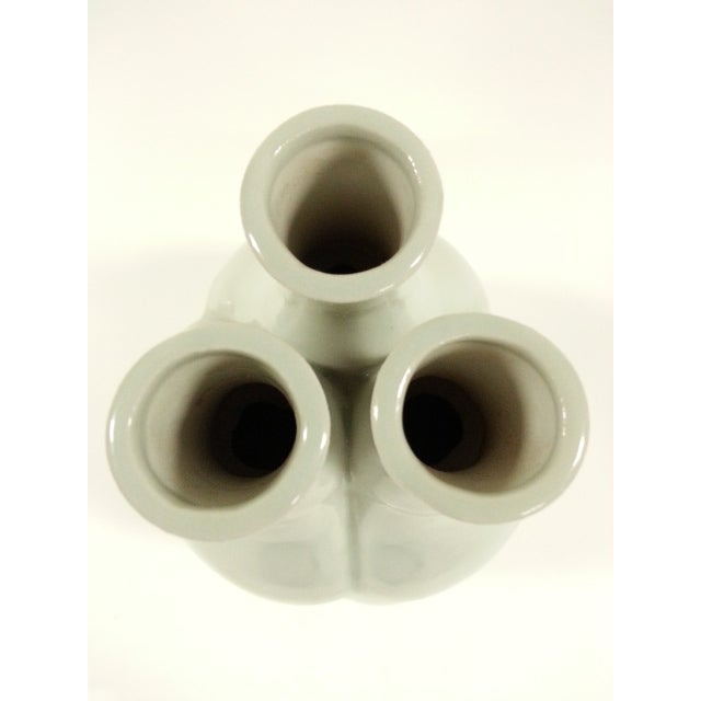 Off White Glazed Gourd Vases - a Pair - Image 4 of 6