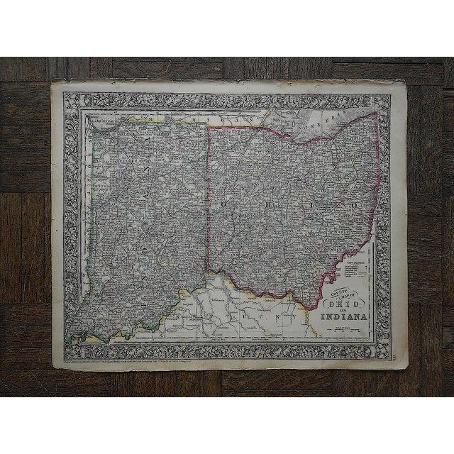 Antique 1862 Ohio & Indiana Folio Size Map - Image 2 of 3
