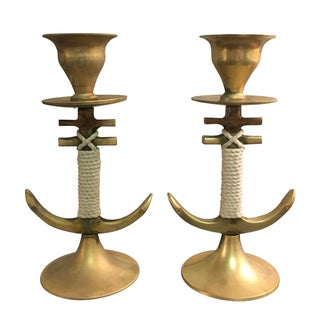 Anchor Candlesticks with Rope Detail - A Pair