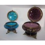 Image of Victorian Czech Art Glass Ormolu Dresser Boxes - A Pair